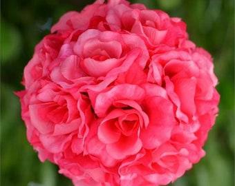 One Fuchsia Kissing Balls, Kissing Ball, Flower Girl Pomander, Pomander Balls, Rose Pomander Balls, Hanging Kissing Balls, Wedding