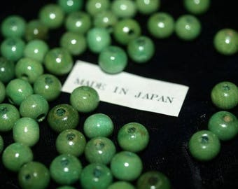 Vintage NOS Lot of 100 Sea Green Blue Wood Wooden Beads 8MM Round Made in Japan