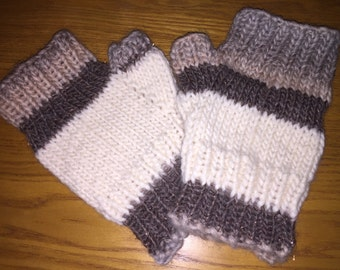 Neutrals striped fingerless gloves