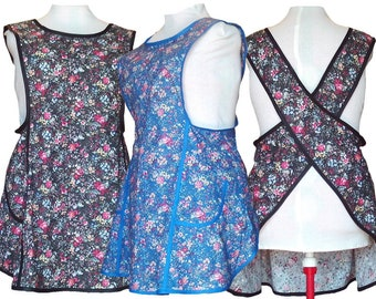 Plus Size Apron, No Tie Cross back Apron with Pretty Flowers on Black or Blue - Made to Order - Sizes XL, 2X, 3X, 4X