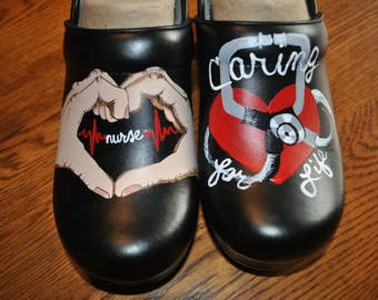 Custom Painted Nursing Clogs