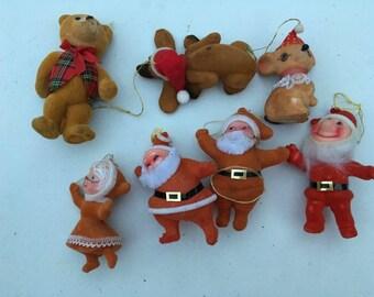 Vintage Felt Flocked Velvet Santa, Mrs Clause, Dog, Teddy Bear, Mouse Ornaments Lot