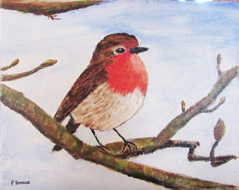 "Robin, acrylic painting, 10"" x 8"" canvas board, varnished, certificate of authenticity"