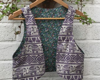 Two In One Reversible Mix And Match Waistcoat, Festival Vest