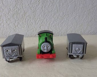 Rare Vintage Nylint Thomas the Tank Engine PERCY with Two Foolish Freight Cars, 1992 Model no. 8857