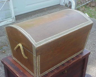 Vintage Hand Made Wood Pirate Chest, Great Treasure Chest!