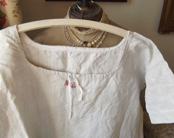 Antique French Linen Robe Night Dress Shift Chemise Tunic c1880 Pure Linen Monogram Smock