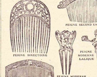 Beautiful Antique Print 1920s Engraved illustrations Book Page Hair Combs Pins Grips Slides Coiffure Style fashion