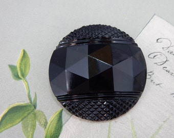 "Large Vintage Faceted Black Glass Button 1.1/2""    OS9"