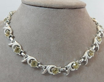 Vintage Sarah Coventry Large Yellow Rhinestone Choker Necklace     OV33