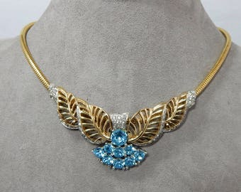 BOUCHER Signed & Numbered Blue Rhinestone Gold  Choker or Cocktail Necklace and Earrings Set     OAE53