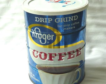 Kroger Coffee Can 2 LBS. Blue 1960's Kitchen Collectible, Kroger Kiddie Koaster Plastic Lid