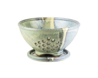 Small pottery berry bowl in Mirage Glaze. Wheel thrown berry bowl with plate / berry colander / pottery colander / colander strainer