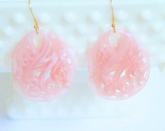 Pink Carved Filigree Tear Drop Dangle  Earrings - Vintage, Bridal, Bridesmaid, Wedding, Beach, Preppy