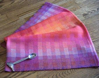 Handwoven Dish Towel, Hand Woven Tea Towel, Gourmet Chef's Towel, Kitchen Towel, Towel Artisan Made, Loom Woven Towel, Rainbow Blocks #7