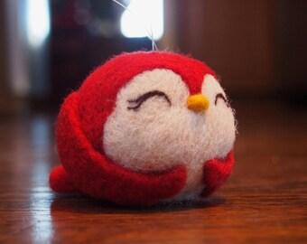Red Bird - Needle Felted Bird - Bird Ornament - Pet Bird