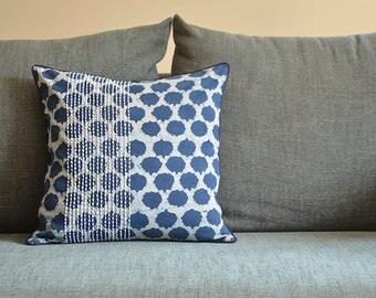 Indigo Block Print Pillow Cover in Cotton , Blue Block Print Pillow Cover , 100% Cotton Block Print Cushion Cover , Decorative Pillow