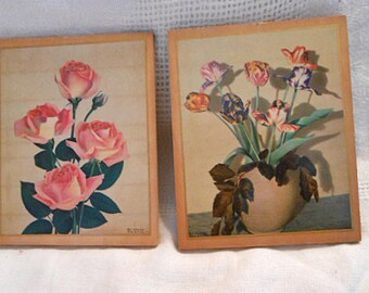 Mini Pink ROSE & Pastel TULIPS Set Retro Spring Pretties, Laminated Litho Photos 4 x 5 Wood Plaques Dated 1939 Moss USA, Mothers Day Gift