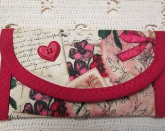 Vintage look Valentine Love Letters Heart Button Business Gift card Bags Purses, Wallet Money clip, Envelope, Handbag accessory wife women