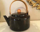 Vintage Enamel Tea Kettle Modern Black Wooden Handle Scandi Look