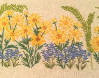 Vintage Mod Framed Crewel Embroidery Flower Power Sunflowers Forget-me-not