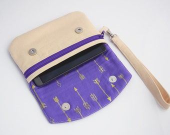 Cell Phone Wristlet Wallet, Arrow Wristlet, Christmas Gift for Her, Handmade, Ready to Ship