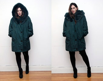 FREE SHIPPING Vintage Real Fox Fur Hood Real Green Cape Parka Coat