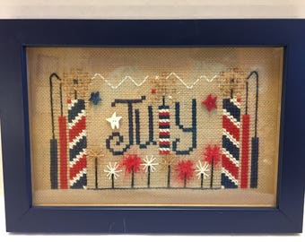 Completed July 4th Patriotic Cross Stitch Sampler with Professional Frame and Glass Finished