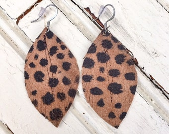 Leopard Leather Feather Earrings