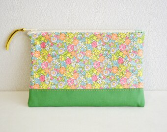 Liberty floral fabric zipper pouch with medium weight cotton in light green - Delilah Cavendish - cosmetic pouch, pen case, zip closure