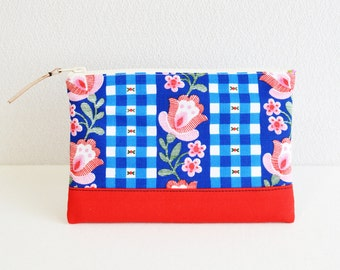 Zipper pouch|vintage|retro scandi floral|blue red[321]  - cosmetic pouch, pen case, zip closure