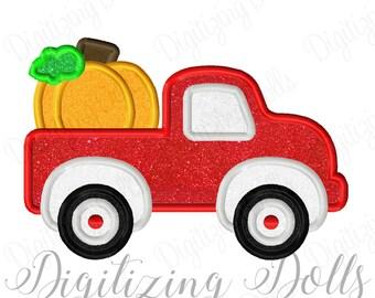 Pumpkin Truck Applique Machine Embroidery Design 4x4 5x7 6x10 Fall Halloween INSTANT DOWNLOAD