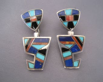 Vintage Sterling Turquoise Onyx Lapis Spiny Oyster Inlay Earrings