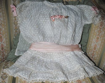 Antique French DOLL Dress PLUMETIS & Pink Ribbon BOW