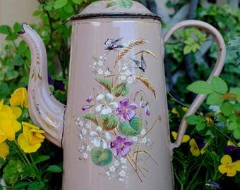 Enameled  French COFFEE Pot  PINK hand painted VIOLETS, Spikes & Butterflies Etoile Pen