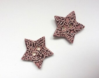 Star Buttons, Ceramic Buttons, Wine Buttons, A Pair of Buttons, Sew on Buttons, Handmade Buttons, Red Supplies, Sewing Buttons, Knitting.