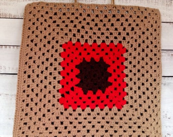 Vintage Midcentury 1960's Hippie Crocheted Granny Square Bag with Metal Top Handles Made in Spain