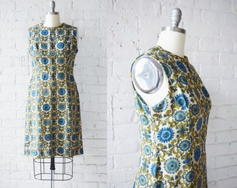 "1960s Brocade Printed Barkcloth Sheath Dress | Size Medium | 36"" Bust"