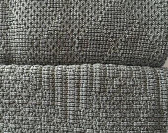 "Knitted Afghan, Throw Blanket, ""Medium Gray"""