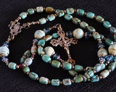 Lady's Catholic Rosary - Solid Bronze Flower Bud Crucifix, Marian center, Free Rosary Pouch.