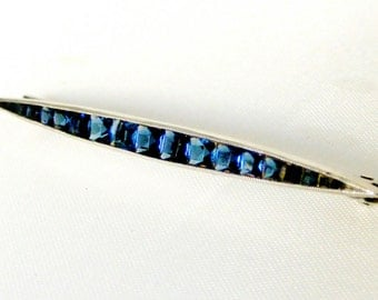 Art deco sterling silver bar brooch with sapphire paste