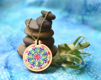 """Colorful Hand-Embroidered Mandala Mini-Hoop Necklace, 2.2"""" with Antique Bronze-Plated Chain"""