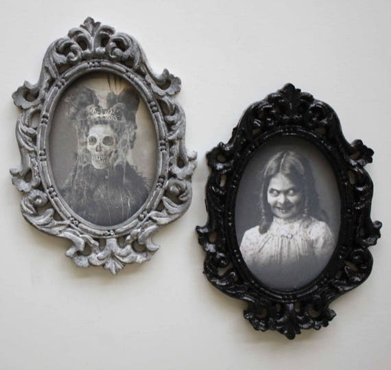 Spooky Miniature Portrait in Oval Frame for Haunted Mansion Choice of One
