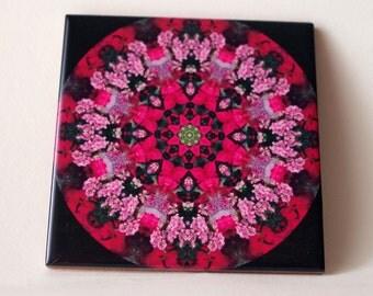 Ceramic tile, floral kaleidoscope decorative tile or trivet in shades of pink, flower, floral photograph color photograph. kitchen decor