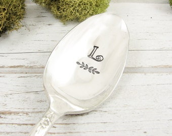 Monogrammed Gift. Stamped Spoon. Personalized with Your Choice of Initial. Vintage Cutlery for Any Occasion. 587SP