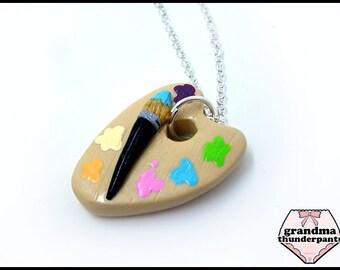 Artist Pallet Necklace, Handmade Artist Painter's Board, Rainbow, Paint Board, Artist Gift