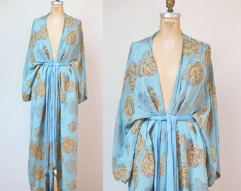 1920s Lame Robe / Silk Rose Print Robe