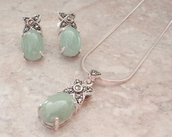 Jade Necklace Earring Set Sterling Silver Marcasites Vintage CW0312-14