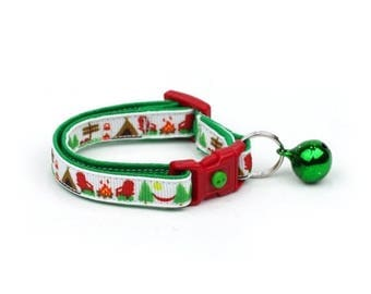 ON SALE Camping Cat Collar - Summer Camp on White - Small Cat / Kitten Size or Large Size