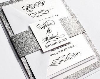 Classic Love Story Wedding Invitation Set - silver wedding, custom invite, silver glitter, luxury invite, invite with wrap, fully assembled
